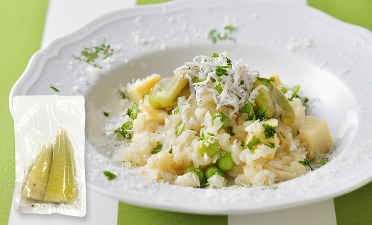 Risotto di primavera (たけのこと豆のリゾット)いろはレシピ#93